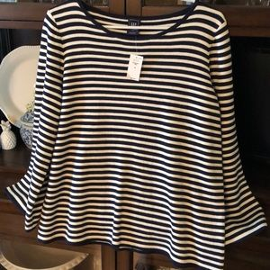 GAP Tops - Gap Nautical Striped Bell Sleeves Top Boat Neck M